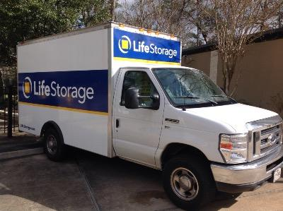 Truck rental available at Life Storage at 7951 Alden Bend Dr in The Woodlands