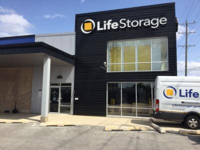 Storage buildings at Life Storage at 405 Shawmut Ave in La Grange