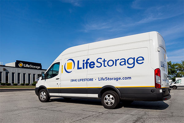 White Life Storage Van parked in front of storage facility