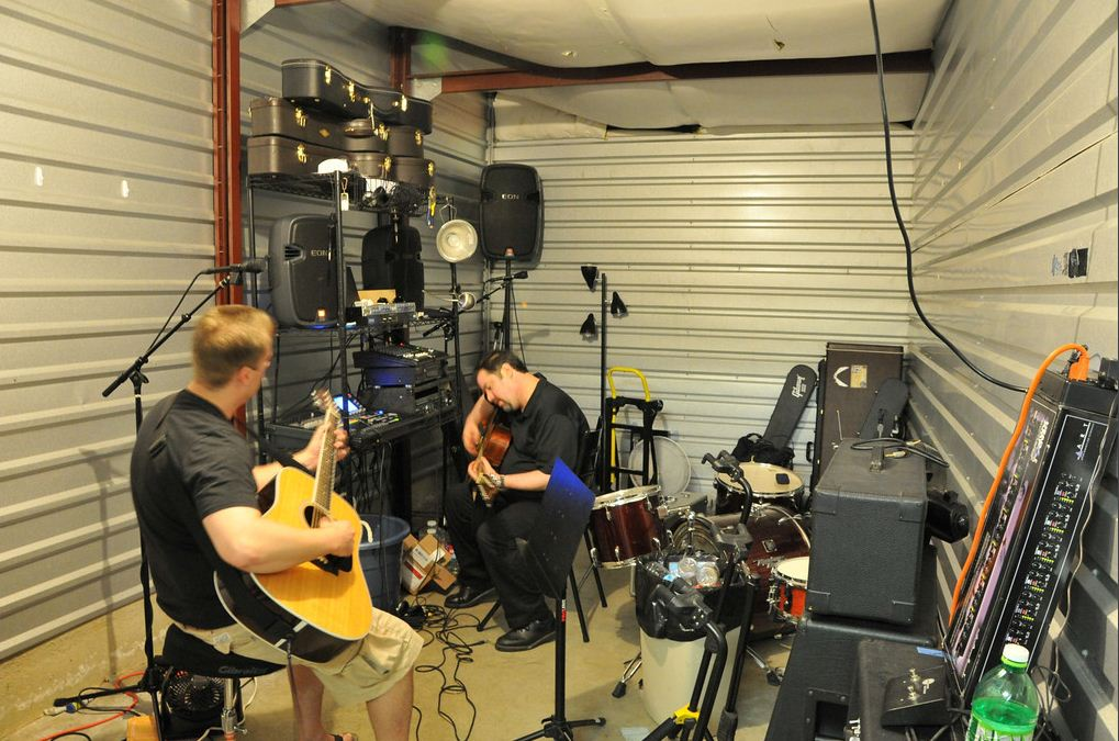 band practice in a storage unit