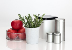 Food Storage Containers, Tomatoes and Rosemary