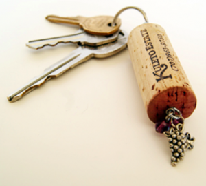 turn a wine cork into a keychain