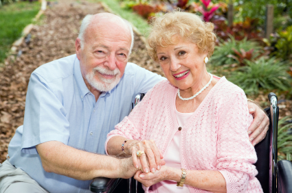 Disabled Senior Couple Outdoors