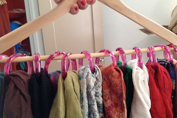 Organize Scarves with Rings on a Hanger