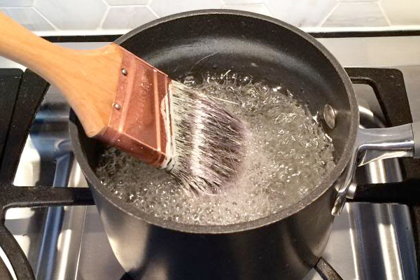Boil Vinegar to Clean Old Paintbrushes