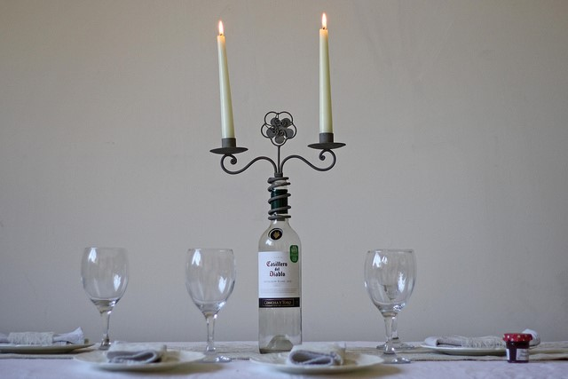 Upcycled Wine Bottle Candle Holder