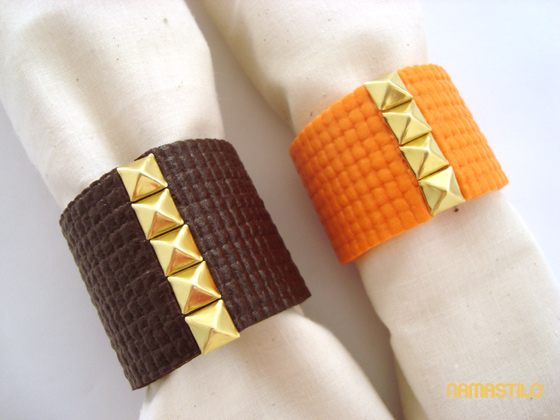 Napkin Rings from a Yoga Mat