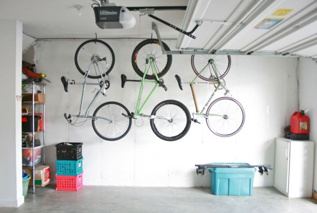 Garage makeover ideas--ceiling hooks for bikes
