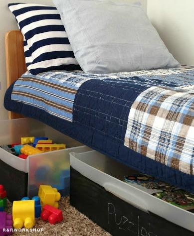 diy toy box ideas: Under-Bed Chalkboard Bins
