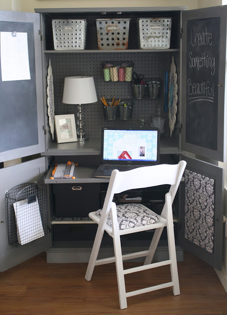 hidden storage ideas: Hidden Armoire Office