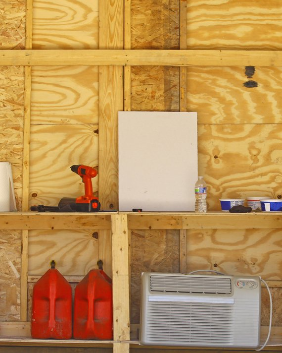 how to organize a shed: DIY Shelving