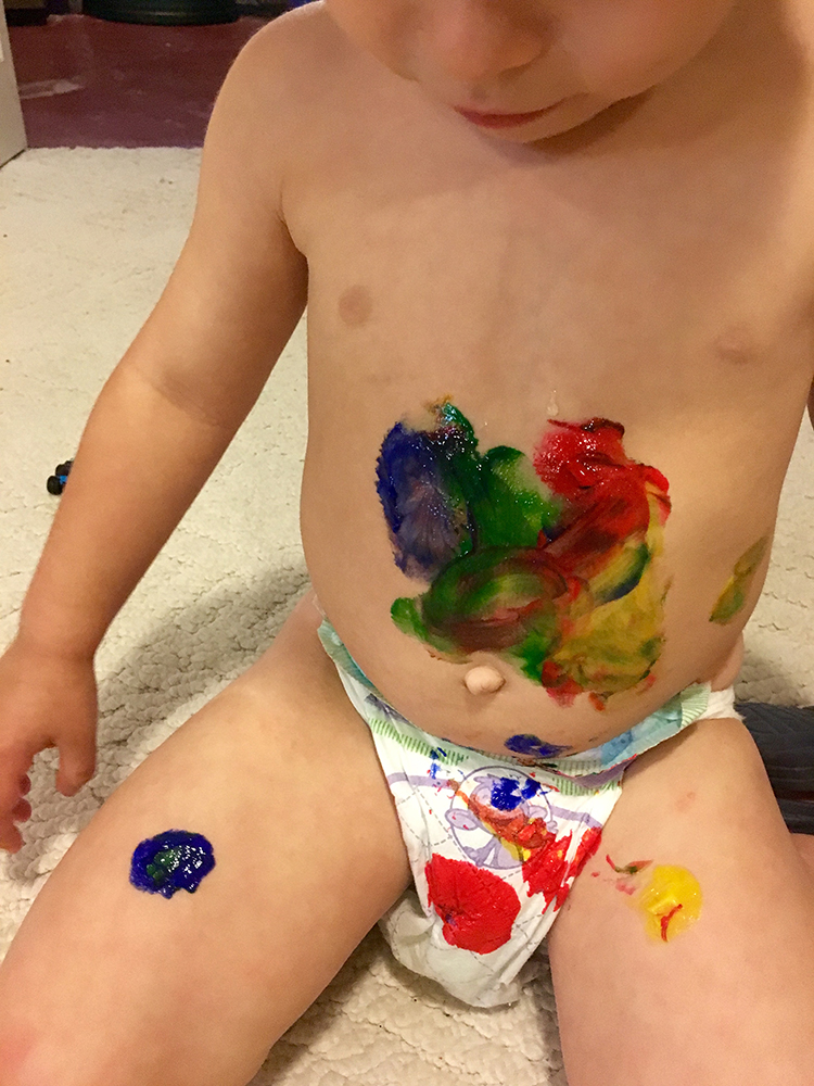 Edible finger paint is a safe and easy toddler activity