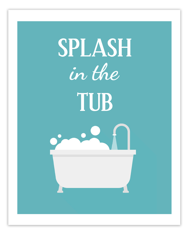 Free Printable Kids Bathroom Art Print - Splash in the Tub