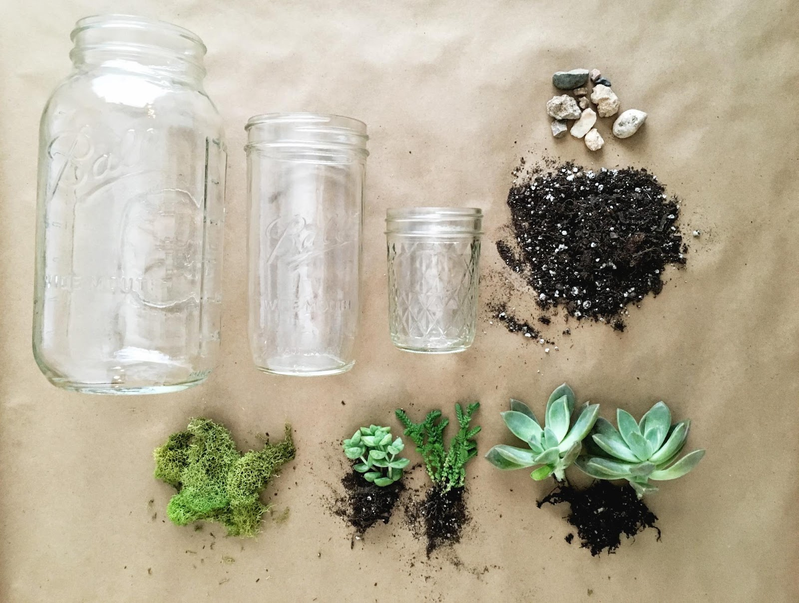 What to need to make a succulent planter using a mason jar.