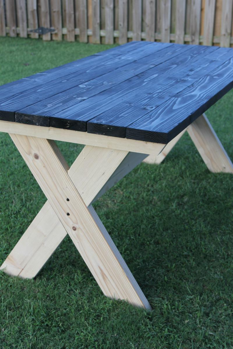 how to build a farmhouse picnic table. Black Bedroom Furniture Sets. Home Design Ideas