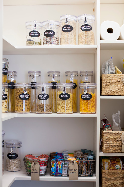 pantry with labelled baskets canisters snacks grains