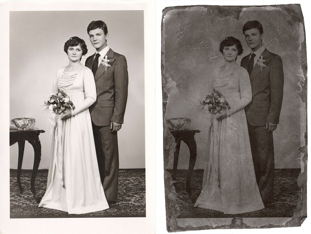 before and after old vintage wedding photo