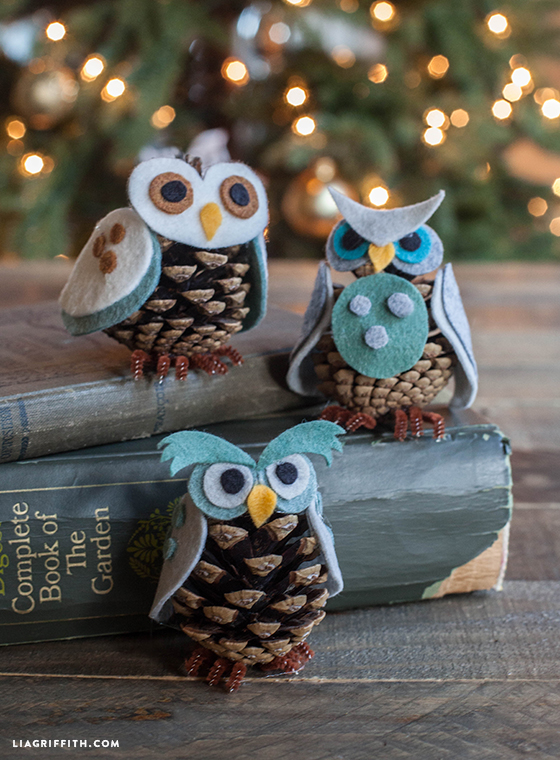 Fall Decoration Ideas - Owl Ornaments with Pinecones