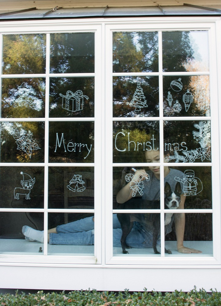 Chalk Pen Drawings on Window for Christmas