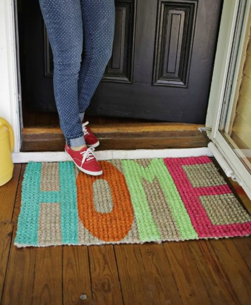 Stenciled welcome mat diy