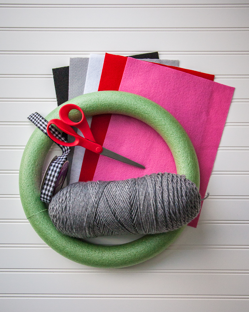 Supplies for making a felt flower wreath