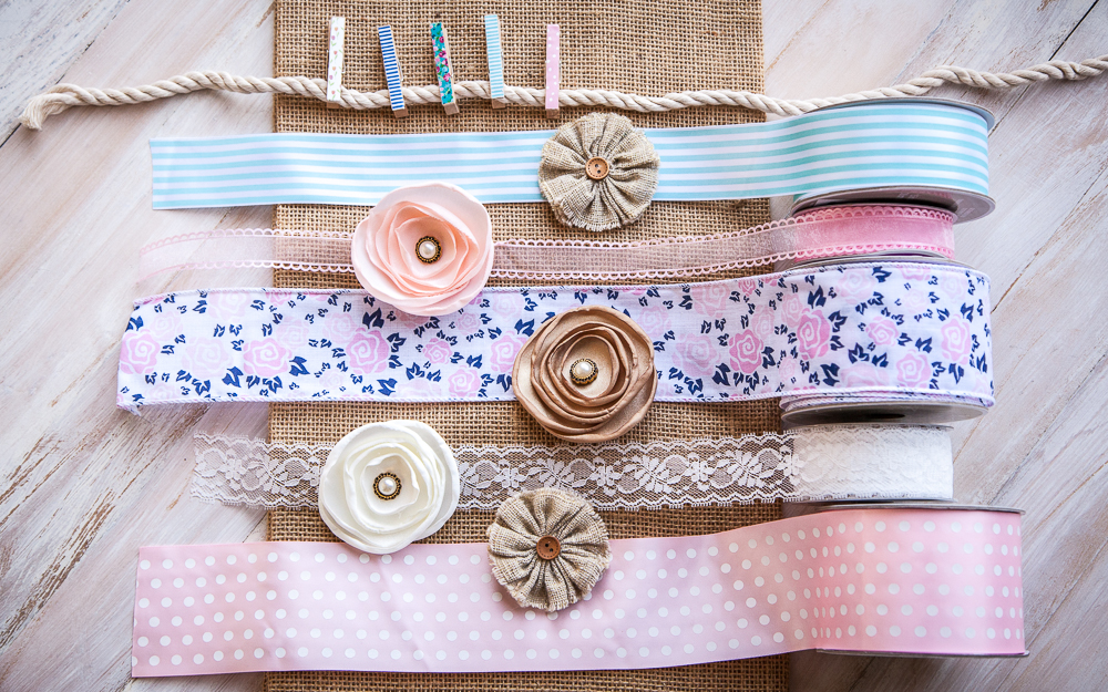 flower polka dot ribbon burlap clothespins twine