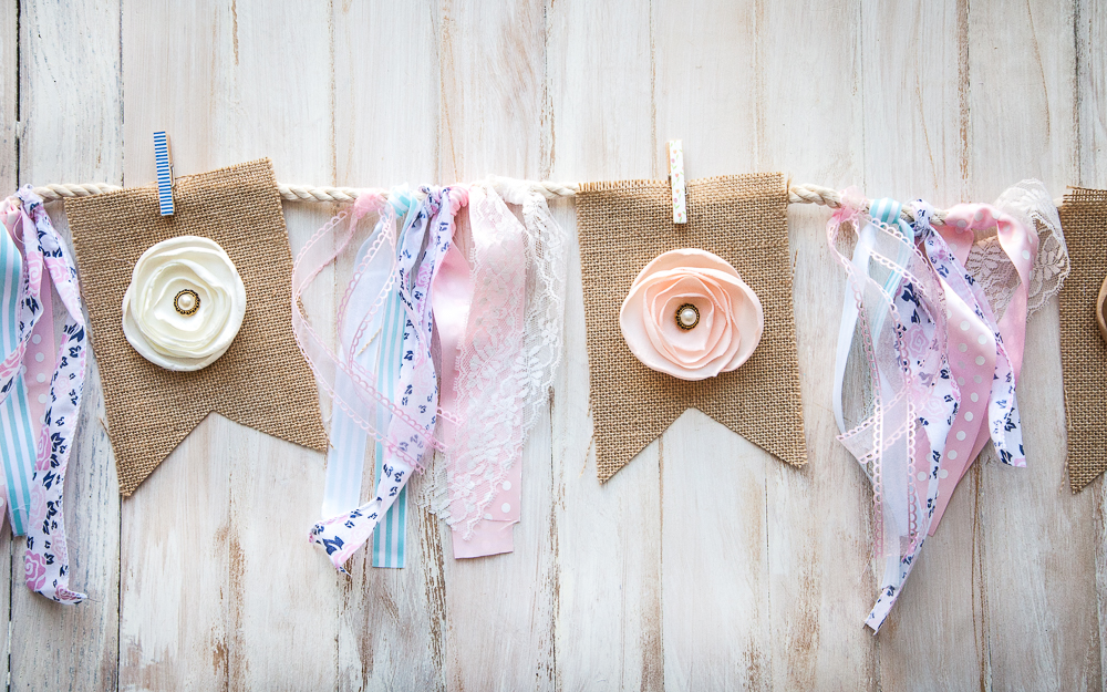 diy burlap twine pennant banner flower ribbon