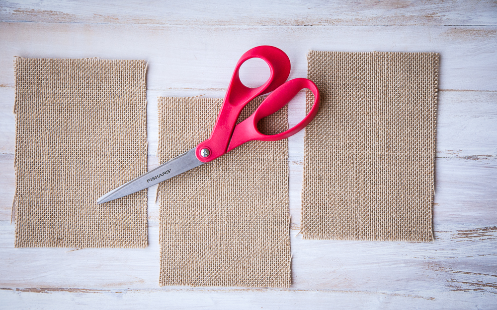 burlap strips red scissors
