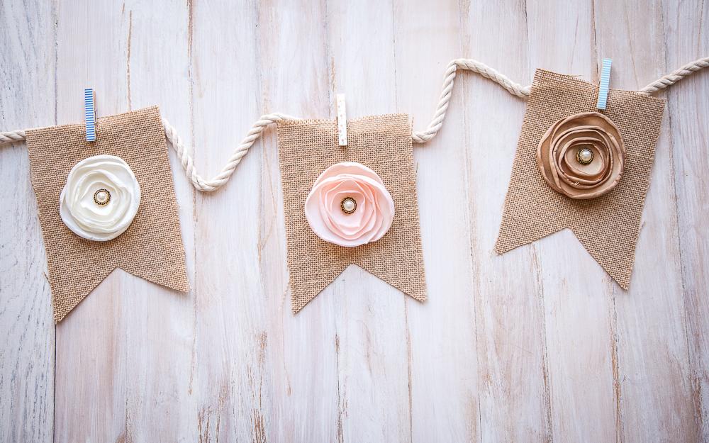 diy burlap banner flowers pearls clothespins