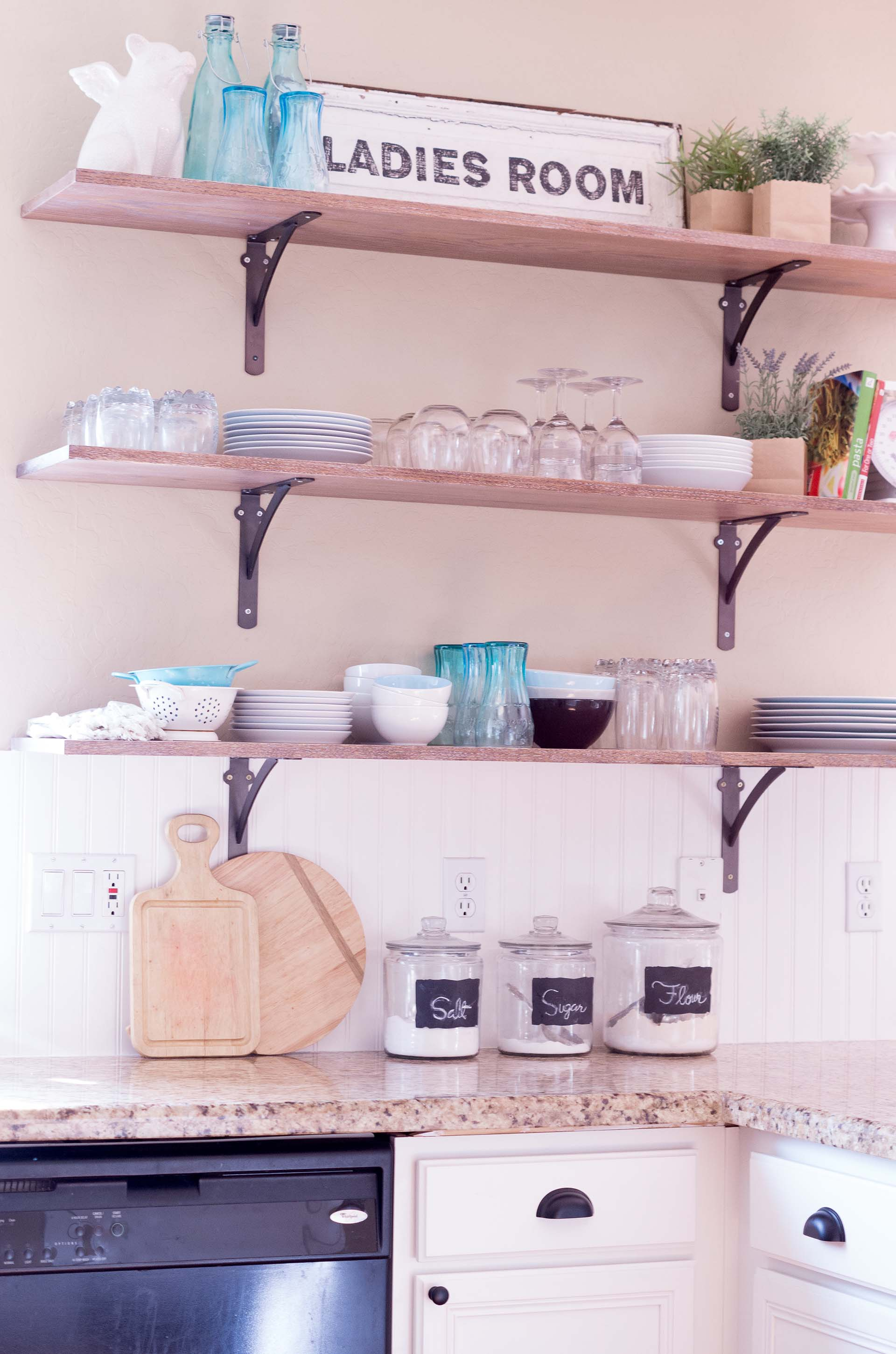 open shelving kitchen decor dishes cups