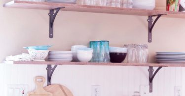 kitchen open shelving dish storage counter
