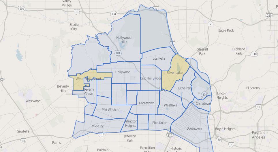 Map of Central LA Neighborhoods