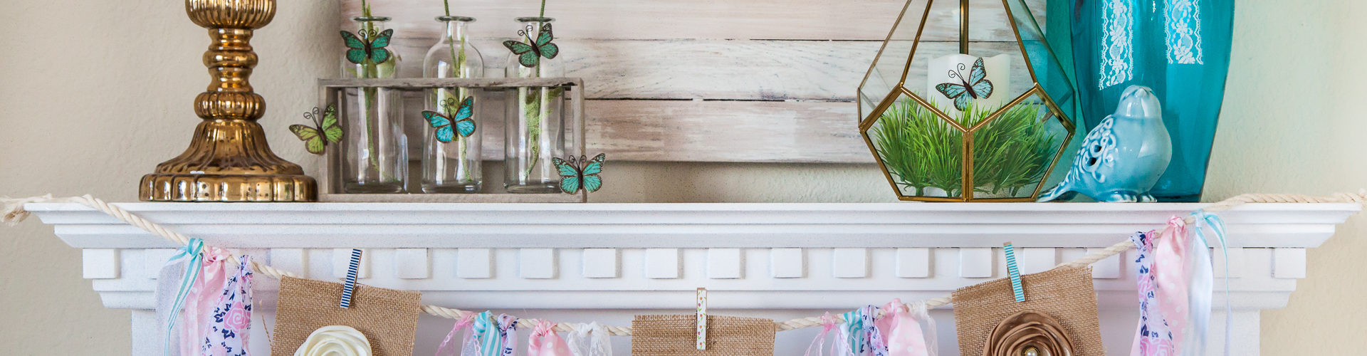 mantel spring decor banner grass burlap