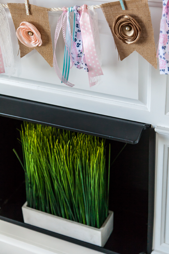 white fireplace mantel decor spring grass