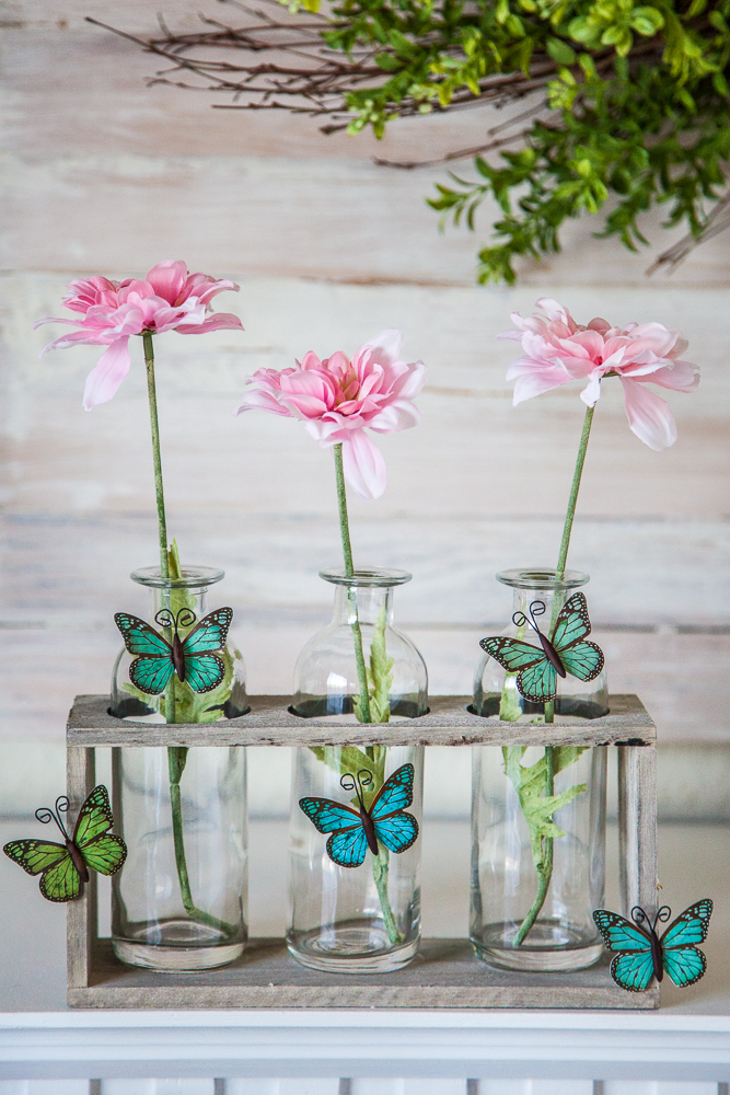 flowers spring test tube rack butterflies