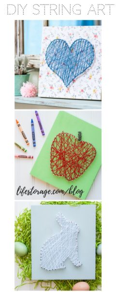diy string art pin lifestorage.com/blog apple heart bunny