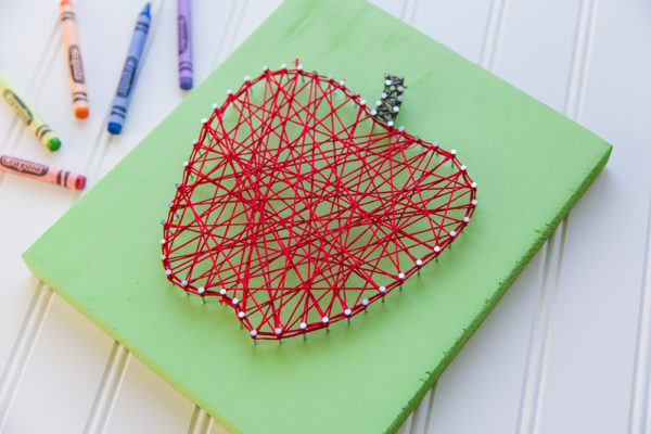 red apple string art pattern green sign crayons