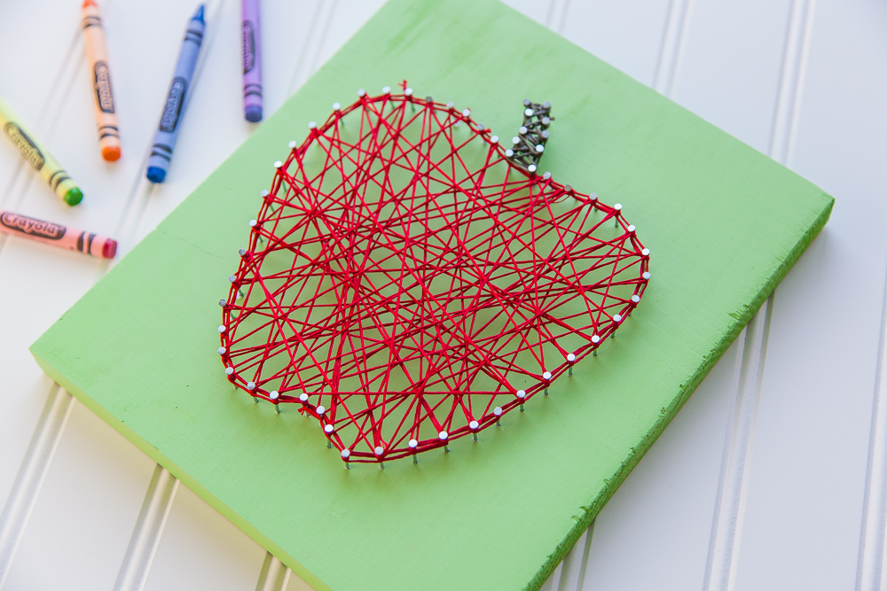 Good String Art Patterns Part - 6: Red Apple String Art Pattern Green Sign Crayons