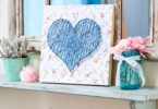 blue string heart mantel decor board
