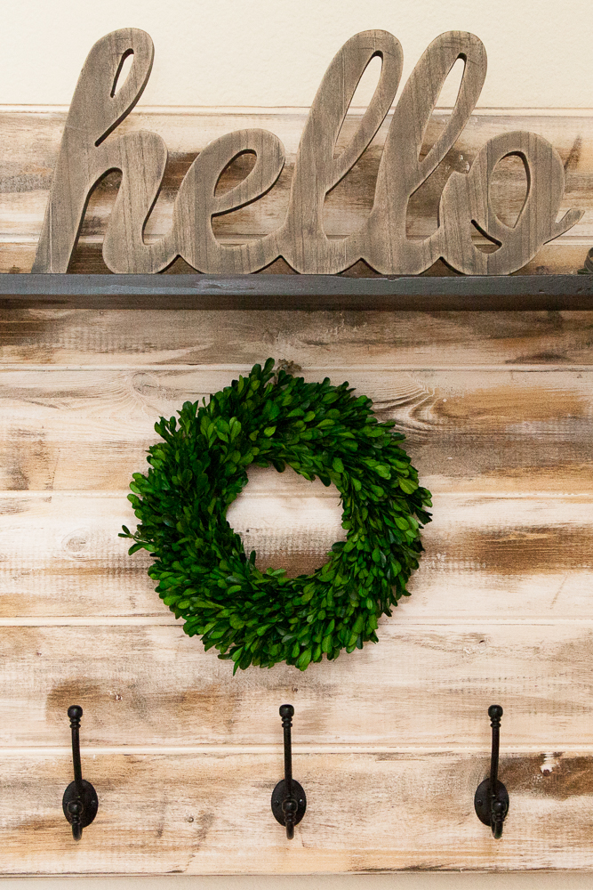 hello sign shiplap farmhouse wreath hooks entryway organization