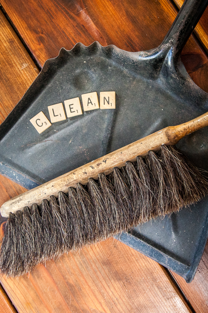 dust pan brush scrabble pieces cleaning routine