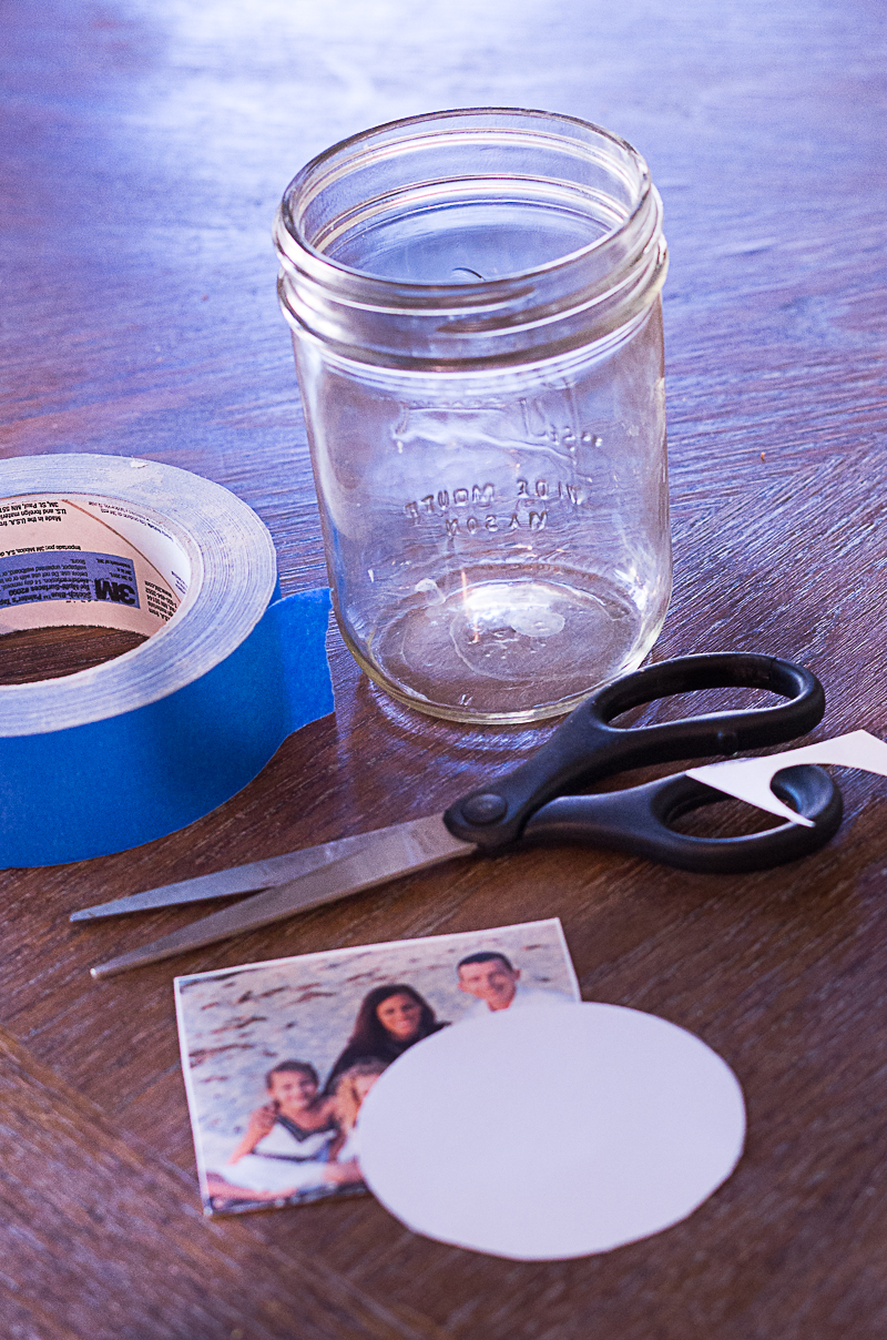 mason jar vase scissors tape picture diy