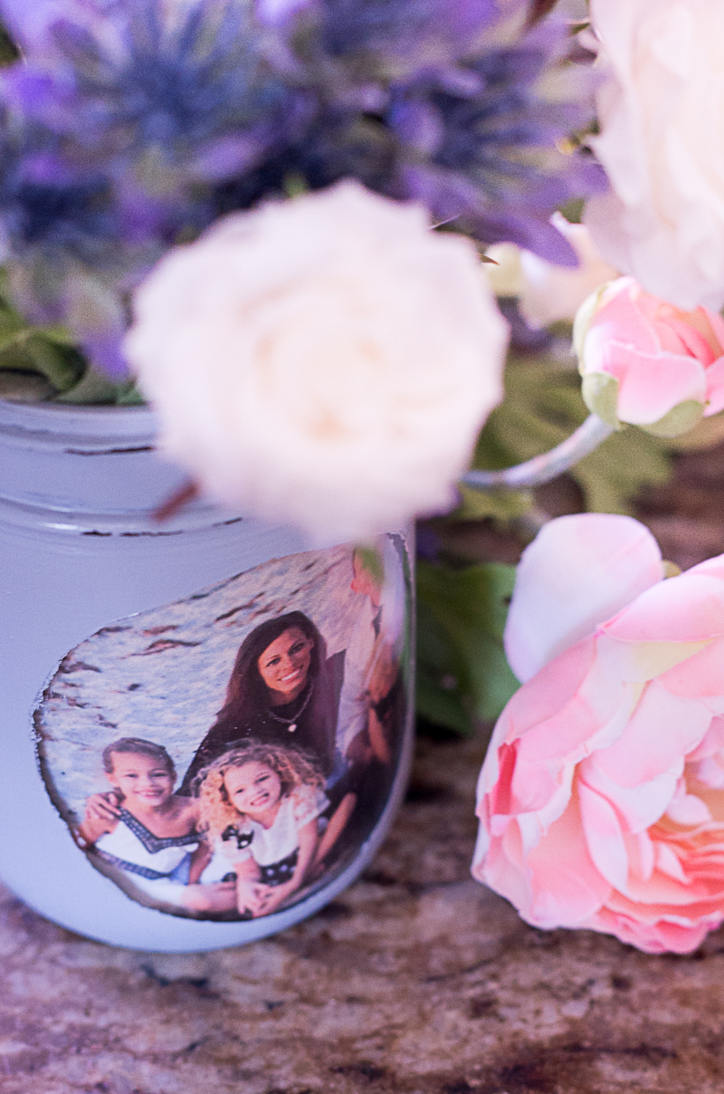 chalk paint photo frame mason jar vase pink purple white flowers