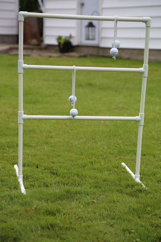 diy pvc pipe ladder golf lawn game close up