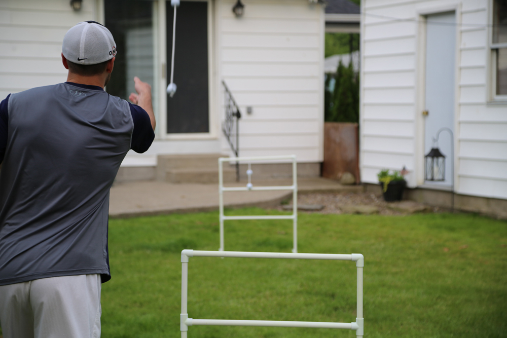 ladder golf diy in action mid toss
