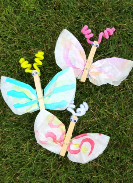 coffee filter clothes pin craft for kids butterfly fun summer DIYs