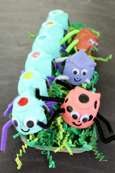 egg carton crafts fun summer DIYs bugs kids