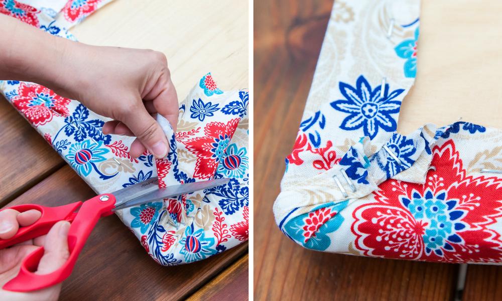 trim excess fabric under seat cushion red scissors blue pattern fabric