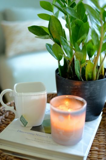 work-life balance tips plants tea candle self-care
