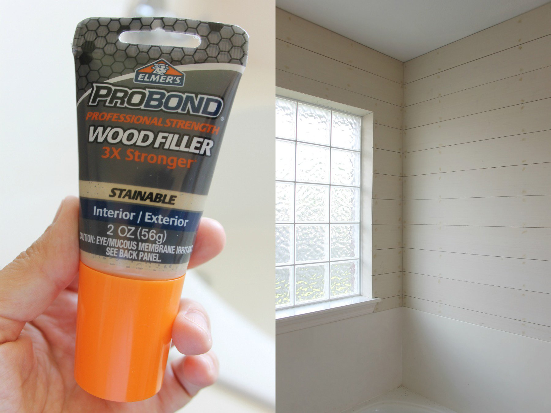 how to install a diy shiplap wall wood filler prep for painting